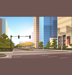 Beautifil city street asphalt road with traffic vector