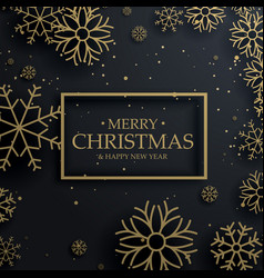 beautiful merry christmas greeting card with gold vector image
