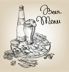 beer set on wooden tray vector image