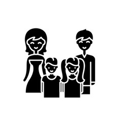 big family black icon sign on isolated vector image