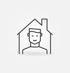 Boy in house outline icon - stay at home vector
