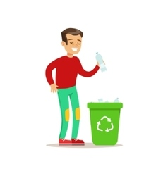 Boy throwing plastic waste in recycling garbage vector