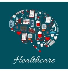 brain symbol made up medicine healthcare icon vector image