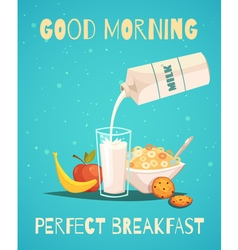 Breakfast Poster With Good Morning Wishing vector