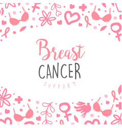 breast cancer support banner template brochure vector image
