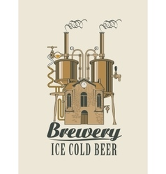 brewery with home with barrels on the roof vector image