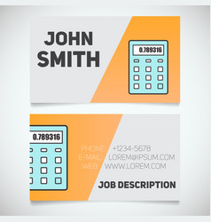 Business card print template with calculator logo vector