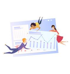 business data analysis grath teamwork character vector image