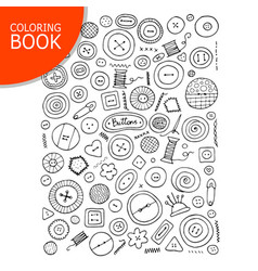 buttons collection sketch page for your coloring vector image