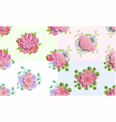 Camellia flower pattern set cartoon style vector