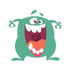 Cartoon happy monster with big mouth laughing vector
