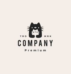 cat mom and son baby cub hipster vintage logo icon vector image