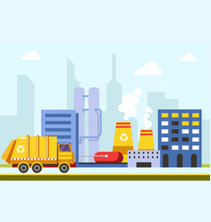 city town infrastructure buildings and factories vector image