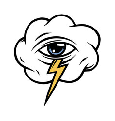 Cloud with all seeing eye and lightning vector