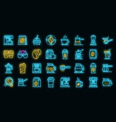 coffee icons set neon vector image