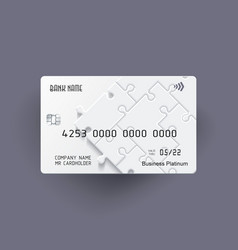 Credit card bright puzzle design with shadow vector