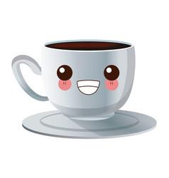cup of coffee kawaii cartoon vector image