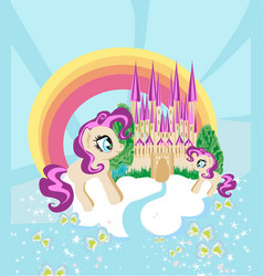 cute unicorns and fairy-tale princess castle vector image