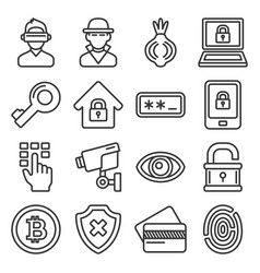 dark deep internet and security icons set line vector image