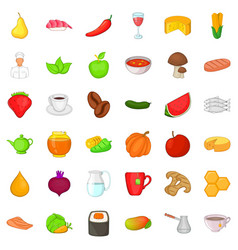 Dietary food icons set cartoon style vector