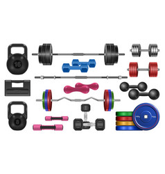 Dumbbell fitness realistic set icon vector