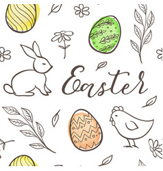 easter pattern with chicken and rabbit vector image