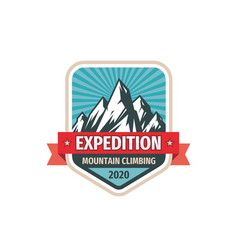 expedition - concept badge design mountains vector image