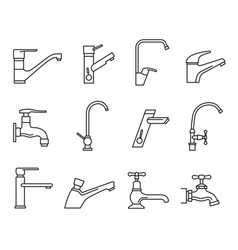 faucet icon set water tap for sink vector image