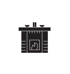 fireplace black concept icon fireplac vector image