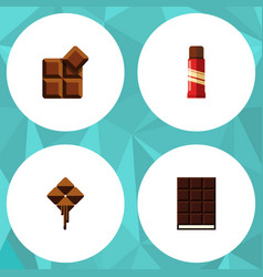 Flat icon cacao set of dessert sweet cocoa and vector