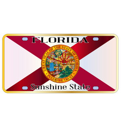 Florida state flag license plate vector