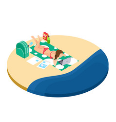 Freelance work on the beach isometric concept vector