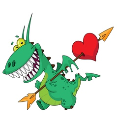 funny dragon with heart vector image