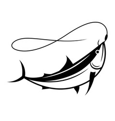 Graphic fish on hook vector