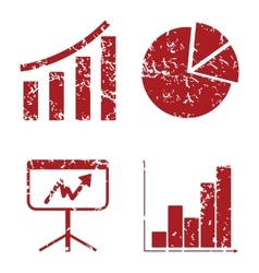 Graphic red grunge icon set vector image