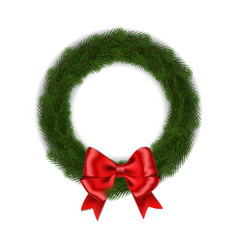 Green christmas wreath with red ribbon bow vector