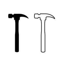 Hand hammer black and line silhouette hand fix vector