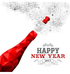 happy new year red champagne bottle low poly vector image