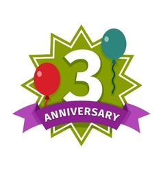 Happy third birthday badge icon vector