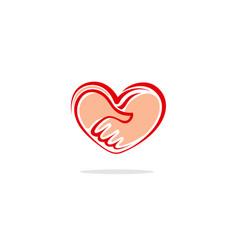 heart handshake logo vector image