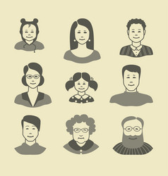 icons of human faces of a different sex and age vector image