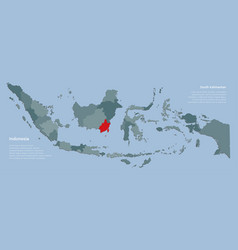 Indonesia map and province south kalimantan vector