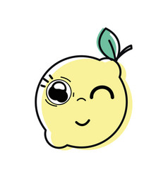 Kawaii nice funny lemon fruit vector