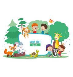 Kids and animals vector