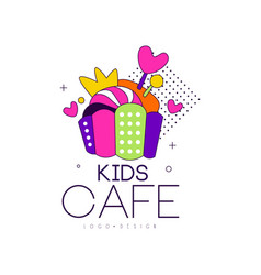 kids cafe logo design badge label for childrens vector image