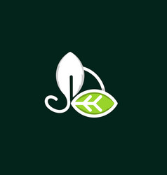 leaf line growth naturally logo vector image