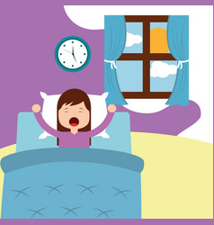 little girl wake up on bed in the morning vector image