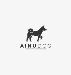 Logo ainu dog elegant silhouette style vector