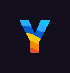 logo letter y colorful blue red orange vector image
