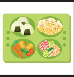 Lunch tray poster green salver with garnish vector